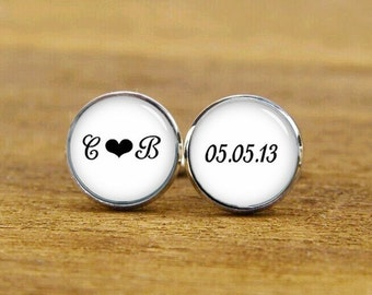 monogram initial cufflinks, custom wedding date, custom wedding cuff links, groom cufflinks, square cufflink, tie clips, best man, tie tack