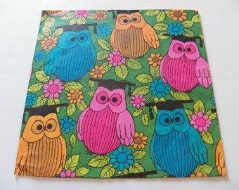 Vintage Owls Gift Wrap, Vintage Wrapping Paper, Owl Gift Wrap, One sheet 20X29 inches, All occasion Graduation Birthday Gift Wrap, Scrapbook
