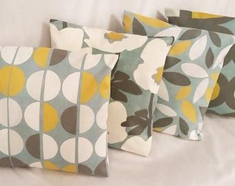 "4 x 16"" 18 ""20"" 22"" Cushion Covers Duck Egg Blue Yellow Handmade"