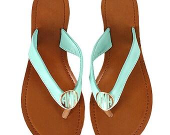 Size 8 Monogrammed Slip-On Sandals - Mint