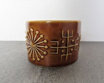 Portmeirion Totem Sugar Bowl. Amber Totem Bowl. Brown Totem Portmeirion Bowl. 1960's Collectable Pottery. Retro Pottery Sugar Bowl.