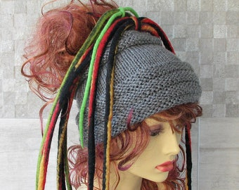 Dreadlock headband headwrap tube hat Dreads accessories Grey
