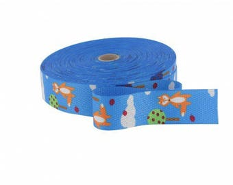 30mm blue rebard cotton strap cut from 50 cm
