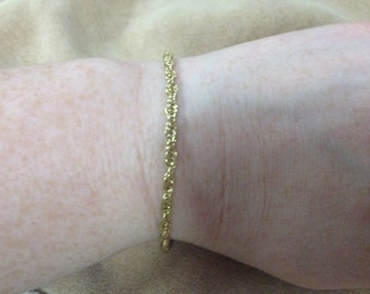 Vintage 925 Sterling Silver Chain Bracelet, Length 8''