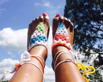 Colorful Beach Feet Barefoot Sandals