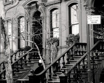 New York City Photography - Black and White Photograph - West Village Photo - Urban Home Decor Streets Spring Cityscape NYC Wall Art