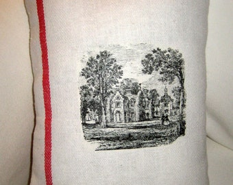 French Country Vintage Grain Sack Manor House Pillow, Provence Inspired Red French Ticking Stripe Cushion, Shabby Chic Home Decor