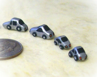 NEW Miniature Silver Cars Collection of Four Artisan Hand Sculpted and Detail Painted Dollhouse Boy Toy 12th Scale Decor