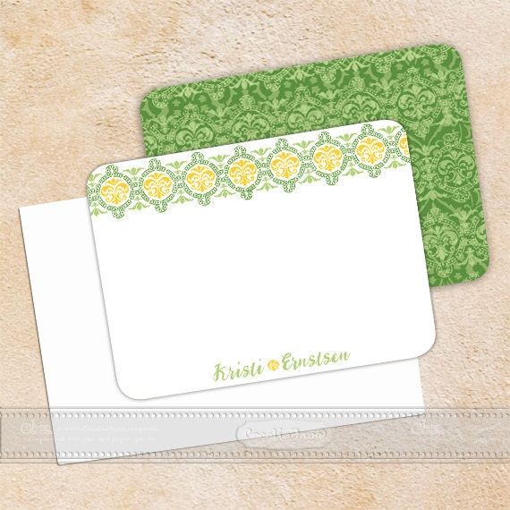 personalized notecards, notecard set, thank you cards, personalized stationery, green notecard set, teacher appreciation,  NS127