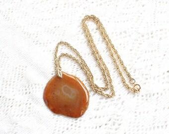 Vintage Carnelian Agate Necklace Large Agate Slice Pendant on Gold Chain Big Organic Slice in Topaz Amber Orange