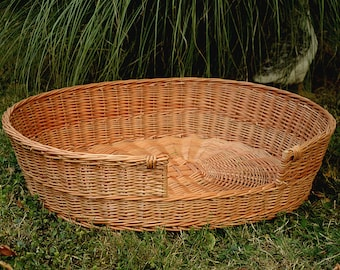 Medium/Large Dog Bed, Large Dog Basket, Wicker Dog Furniture, Natural Material Dog Bed, Wicker Dog Bed, Willow Pet Basket, Large Cat Bed