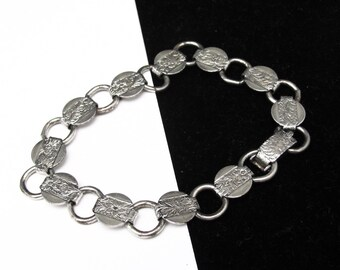 Vintage Sarah Coventry Silver Book Chain Bracelet, YOUNG AND GAY, Silver Tone Flower Link Bracelet, Delicate Silver Bracelet