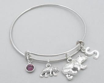 Mama bear baby bear monogram bracelet | bear bangle | personalised grizzly bear bracelet | bear jewelry | initial letter | birthstone