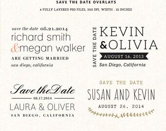 Digital Save the Date overlays - wedding photo card overlays template PSD