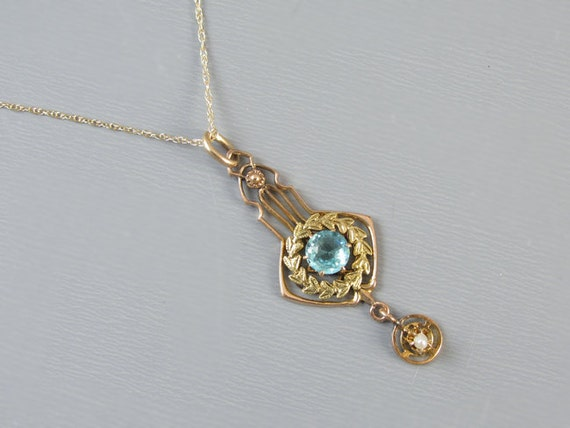 Antique Edwardian 10k yellow and green gold garland wreath blue paste and seed pearl necklace pendant lavalier