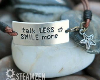 Hamilton Talk Less Smile More Personalized Hand Stamped Leather Bracelet - Hamilfan Gift - Actor Gift - Theater Gift - Unisex