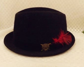 50's National Club Black Wool Felt Men's Fedora Size 7 1/4