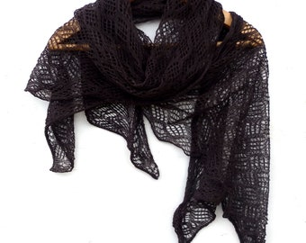 Scarf, knitted brown linen scarf, knit wrap, knitting flax shawl, lace scarf, natural linen scarves, dark brown shawl,  accessories