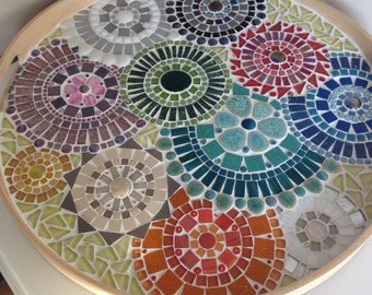 mosaic design bowl,handcrafted mosaic tray, mosaic art home decoration, glass mosaics tray multicolor glass mosaic