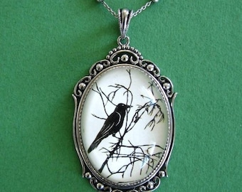FOR the LOVE Of CROWS Necklace, pendant on chain - Silhouette Jewelry