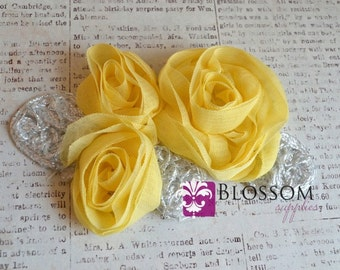 Flower Appliques - LIGHT YELLOW - The Grace Collection - Triple Chiffon Flowers Silver Leaves - DIY Headbands - Bridal Applique Wholesale