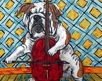 25% off bulldog art - Bulldog playing cello signed dog art print modernmusic room