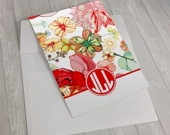 Personalized Custom Monogram Stationary Flat Notecards -  Set of 25