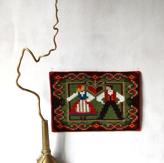 Vintage Scandinavian Napkin Textile Art Embroidery Wall