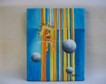 "Acrylic on canvas. Original painting, 10x8 inch (25x20 cm). ""Moons from the loom""."