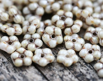 50pc Light Beige Picasso luster daisy flower beads, rustic czech glass flat 5mm daisy, spacer - 0430