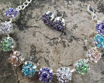 Stunning 11mm swarovski crystal rosette bracelet set