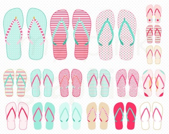 18 Summer Flip Flops Clipart - Summer Shoes Clipart, Havaianas, Beach Clipart, Planner Stickers, Scrapbooking, Commercial Use - MPG104