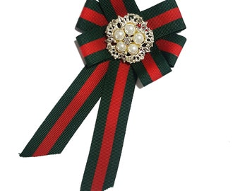 Green Red Striped Bow Tie Pin, Bow Knot Brooch, Bow Pin