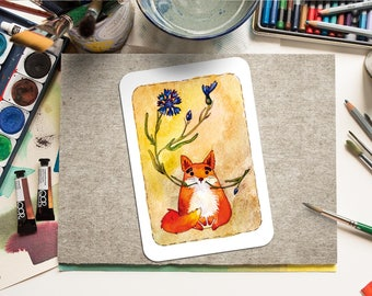 """Printable Greeting Card """"Fox and cornflowers"""" Paper Craft PDF, Watercolor, Instant Download, Home Print, Printable Art, for every occasion"""