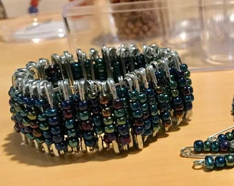 Iridescence Color Saftey Pin Bracelet
