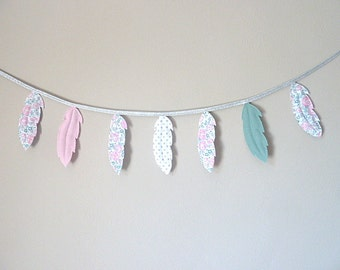 Liberty Bliss feather Garland pink sugared almond and celadon silver washed linen flax