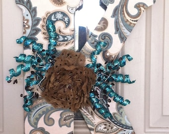 Hanging inital- Paisley letter- Front door decor-Wooden inital-Teal-Brown-Cream