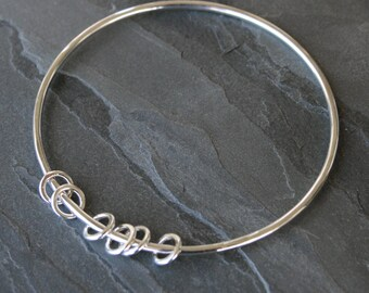 Silver Circles Sterling Silver Bangle, Eternity Circles, Stacking Bracelet, Six Silver Circles, Stackable Bangle