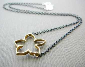 Sterling Silver Necklace, Bronze Flower Lotus Oxidized Chain yoga mothers day gift