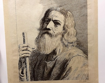 Moses? after GUERCINO Old Italian Baroque Master Antique Etching