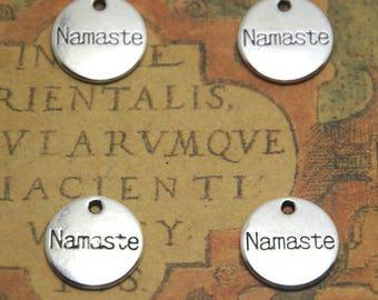20pcs Namaste charms silver tone 2 Sided Namaste Charm Pendant 14mm ASD1433