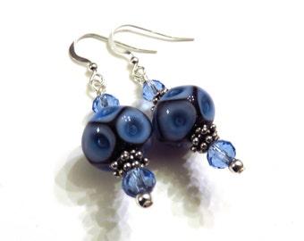 Blue Geometric Lampwork Earrings, Blue Earrings, Lampwork Jewelry, Blue Lampwork Earrings