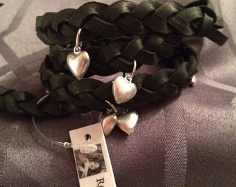 Black Leather Braided Queen of HEARTS Inspired Charm Wrap Bracelet