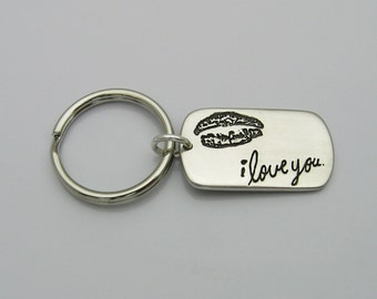 Handwriting Keychain, Sterling Silver Dog Tag Keychain with YOUR Handwriting Custom, Personalized Keepsake, Memorial Keychain, Gift for Men