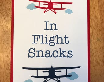 In Flight Snacks Sign, Vintage Airplane Party Decorations, Vintage Airplane Party Theme