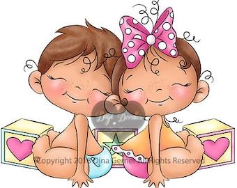 Jacobean & Jillibean Baby Twins Digi Stamp