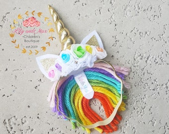 Rainbow Unicorn headband, rainbow colors and gold unicorn headband, rainbow unicorn party headband, gold glitter elastic unicorn headband
