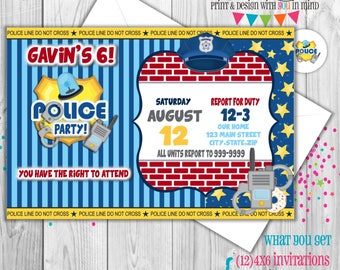 Police Party invitation set of 12