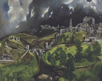 El Greco 1984 LITHOGRAPH +COA. View of Toledo. Superb Vintage Art Print. Unique and EXCLUSIVE Gift of Extremely Rare Art
