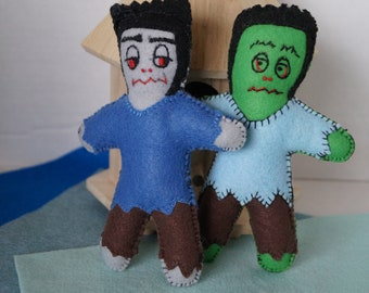 monster dolls, small dolls, frankenstein dolls, stuffed doll, felt dolls, pocket size dolls, handmade dolls,